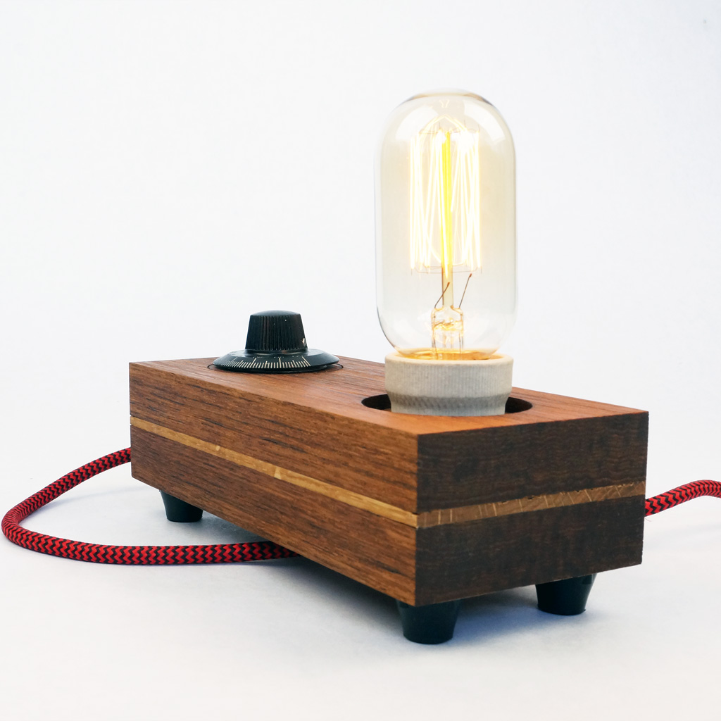 Handmade teak lamp 39 turn 39 with edsion t45 bulb zzzdesign for Design lamp hout
